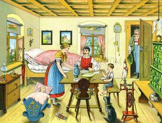 Bauernfamilie  Bauernstube  1885