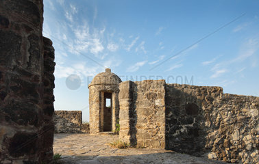 Turret and wall  Presidio la Bahia  Goliad  Texas  USA