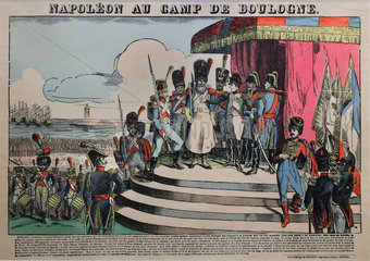 Napoleon at the Camp de Boulogne  engraving  Chateau de Hardelot  Condette  Pas-de-Calais  France