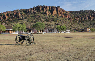 Cannon and Officers' Row  Fort Davis National Historic Site  Texas  USA