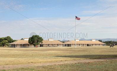 Parade ground and Enlisted Men's Barracks  Fort Davis National Historic Site  Texas  USA