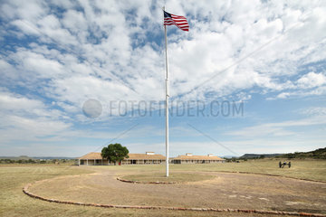 Parade ground and Enlisted Men's Barracks  Fort Davis National Historic Site  Texas  USA