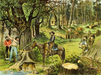 Deutsche Ansiedlung in Amerika  Schautafel  um 1885