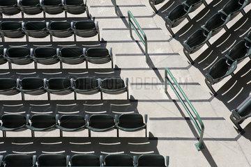 Empty stadium seating  overhead view