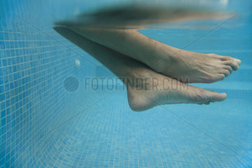 Man's legs in water  underwater view