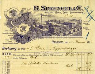 Sprengel  Schokoladenfabrik  historische Rechnung  1905