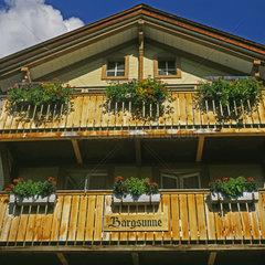 Holzhaus in Muerren  Berner Oberland  Schweiz  Europa