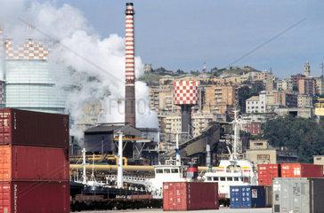Italy  Liguria  Genoa Cornigliano  ILVA steel factory and containers terminal