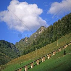 Gleise der Gipfelbahn in Muerren Schweiz  Europa