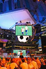 Germany. Berlin - Sony Center. Fussballfans in der ZDF Arena fuer die WM 2006