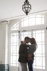 Couple embracing  silhouette