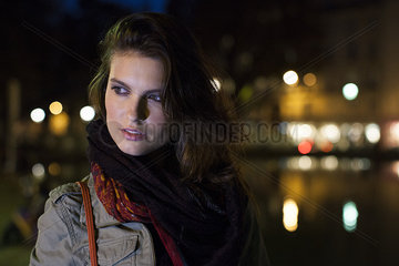Woman outdoors at night  portrait