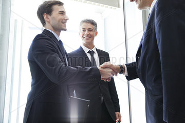 Young businessman shaking hands with senior associate