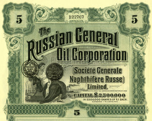 Historische Aktie der Russian General Oil Cprporation  1913