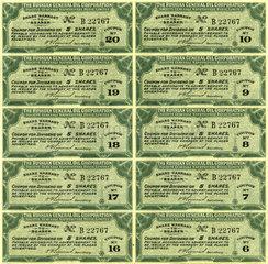 Historische Aktien-Coupons der Russian General Oil Cprporation  1913