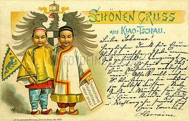 Postkarte aus der deutschen Kolonie Kiautschou  1898
