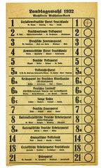 Stimmzettel zur preussischen Landtagswahl 1932