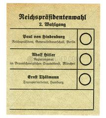 Stimmzettel zur Reichspraesidentenwahl 1932