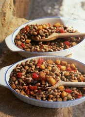Italy  stew beans with potatoes and fresh tomatoes