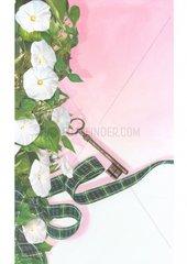 Schluessel Schleife Blumen Geschenk