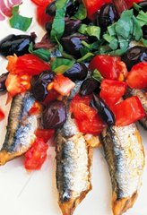 Italy  Liguria  Cinque Terre's traditional anchovies menu: anchovy with tomato  olives and basil