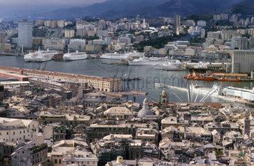 Italy  Liguria  Genoa  town panorama