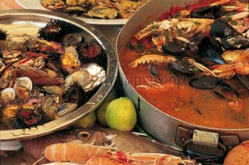 Mix of fish  seafood  molluscs and prawn's soup