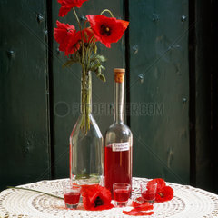 Italy  Apulia  typical flavoured liqueur Rosolio with poppy