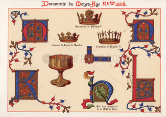 Illuminated letters  royal crowns  and a gold cup.