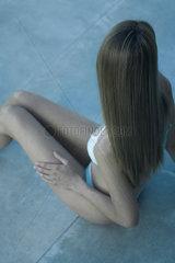 Young woman in bikini  elevated view