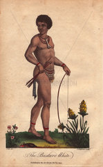 A mixed-race African man wearing a necklace and bone  carrying a bow and arrow.