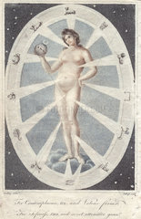 Figure of a naked woman holding a sphere within a zodiac circle.