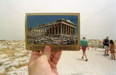Foto der Akropolis verdeckt die Akropolis