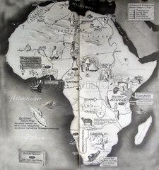 Afrikakarte mit europaischen Kolonien 1943