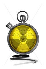 Stopwatch with radiation warning symbol