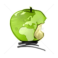 Globe in form of apple  missing bite on Europe and Africa continents