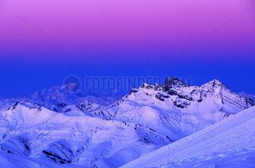 France  Isere (38) Les Deux Alpes  Coucher de soleil du haut du glacier
