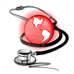 Red planet earth and stethoscope