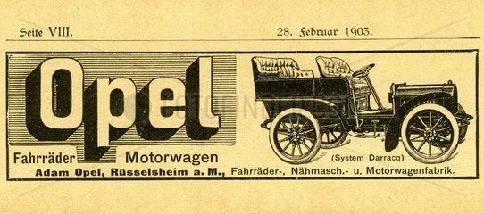 sehr fruehe Opel-Werbung  1903