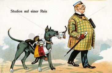 Student mit Hund  Karikatur  1909