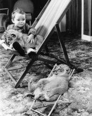 Kind und Loewenbaby im Liegestuhl