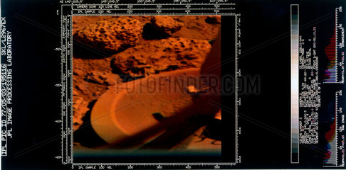 Foot of the Viking 2 lander on the surface of Mars  1976.