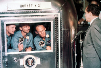 Apollo 11 astronauts meeting US President Richard Nixon  1969.