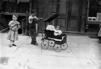 'Morning Recreation'  tenement children  New York  c 1910.