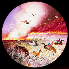 Prairie on fire  hand-coloured magic lantern slide  19th century.