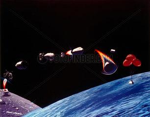Artists impression of Apollo mission  late 1960s.