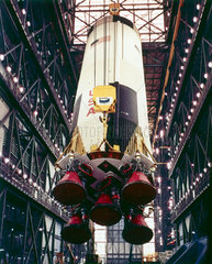 First stage of the Apollo 10 Saturn V rocket  1969.