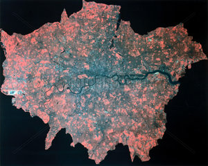 Composite Landsat false colour image of Greater London  1979.