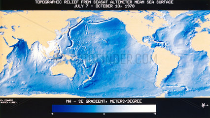 Topographical relief map of the Earth's oceans  1978.