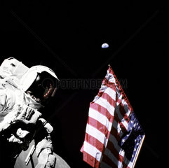 Schmitt with Flag and Earth Above  1972